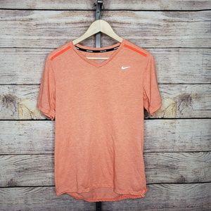 Nike Orange V-Neck Tailwind Dri-Fit Running Shirt